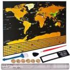 Большой размер Скретч Карта мира путешествия Премиум персонализированные настенные стикеры плакат флаги всех стран Подарочная посылка дл...