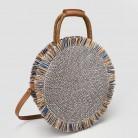 2019 Fashion New tassel Handbag High quality Straw bag Women beach woven bag Round Tote fringed beach wovenShoulder Travel bag