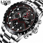US $20.39 83% OFF|LIGE Watch Men Fashion Sport Quartz Clock Mens Watches Top Brand Luxury Full Steel Business Waterproof Watch Relogio Masculino-in Quartz Watches from Watches on Aliexpress.com | Alibaba Group