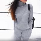 Осень зима вязаный костюм водолазки Толстовки Повседневное костюм Для женщин Одежда 2 шт. Комплект Трикотажные брюки спортивные костюм женский купить на AliExpress