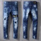 2735.56 руб. 40% СКИДКА|Новый итальянский стиль #3314 # мужские потертые желтые глаза монстра вышитые промасленные брюки синие узкие джинсы узкие брюки Размер 29 40 купить на AliExpress