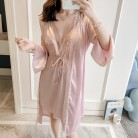 2019 Women Robes Gown Sets Sexy Lace Satin Sleepwear 2 pieces Pajamas Nightwear Silk Nightshirts Sleep Lounge with Chest Pads