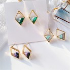 US $1.29 50% OFF|Contracted lozenge color contrast color earrings female fashion lady geometric hollow out the triangle stud earrings earrings-in Stud Earrings from Jewelry & Accessories on AliExpress - 11.11_Double 11_Singles' Day