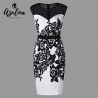 US $17.32 |AZULINA Plus Size Flower Print Mesh Panel Slim Dress Work OL Dresses Robe Femme Ete 2018 Summer O Neck Sleeveless Bodycon Dress-in Dresses from Women's Clothing on Aliexpress.com | Alibaba Group