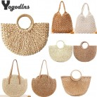 Vintage Straw Bag Round Rattan Bags Handmade Summer Bags Woven Beach Ladies Circle Shoulder Bag Bohemia Girls Travel Handbags