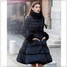 Белый гусиный пух куртка для Для женщин Фокс зимнее пальто меховой воротник Для женщин Длинные куртки элегантный кисточкой юбка верхняя одежда вниз Топы WM210 купить на AliExpress