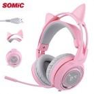 SOMIC G951 USB 7,1 гарнитура объемный звук Игровые наушники бас шлем с кошачьими ушками микрофон Вибрация для ПК ноутбук Розовый Дети Девочка