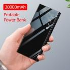 30000 мАч Внешний аккумулятор, зеркальный внешний аккумулятор, зарядное устройство, ЖК-дисплей, двойной USB внешний аккумулятор для IPhone X 8 7 6s ...
