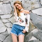 873.69 руб. 45% СКИДКА|Simplee цветочный принт с плеча шифоновая блузка Для женщин Топы Холтер Прохладный Длинные рукава женский блузка рубашка сексуальный свободно Белый blusas купить на AliExpress