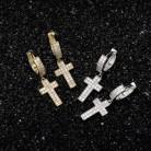D & Z Iced Out Bling CZ камень крест серьги для женщин мужчин микро проложили распятие Pendiente хип хоп ювелирные изделия