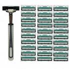 73.97 руб. 15% СКИДКА|(1 ручка + 30 шт. двойной слоистые лезвия) Для мужчин мужского тела лицо бритья лезвие ручное лезвия для Стандартный Бритва для бороды Триммер купить на AliExpress