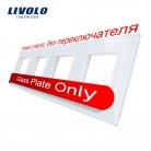 1129.87 руб. 11% СКИДКА|Livolo Роскошный белый прозрачная стеклянная панель переключателей, 294 мм * 80 мм, стандарт ЕС, четверка Стекло Панель для розетки C7 4SR 11 купить на AliExpress