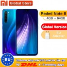 "Global Version Xiaomi Redmi Note 8 4GB 64GB Snapdragon 665 Octa Core Smartphone 6.3"" 48MP Quad Rear Camera Supports 18W Charger"