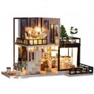 1024.44руб. 35% СКИДКА|Сборный DIY Кукольный дом, игрушка, деревянный миниатюрный кукольный домик, миниатюрные кукольные домики, игрушки с мебели, пылезащитный чехол, светодиодный подарок на день рождения-in Кукольные дома from Игрушки и хобби on AliExpress