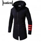 1178.33 руб. 40% СКИДКА|Huation для мужчин хип хоп толстовки с капюшоном черный уличная куртка на молнии флисовая одежда длинным рукавом мантия мужские пальт купить на AliExpress