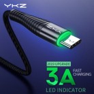YKZ светодиодный кабель 3A usb type C для быстрой зарядки, кабель type-C для мобильного телефона samsung Galaxy Xiaomi huawei, кабель USB C USB-C, кабель для зарядки