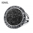 Hot 2015 Fashion Black Broken Stone Accessories Rings For Women Bohemia Silver Plated Jewelry Live To Ride Engagement RingRing-in Engagement Rings from Jewelry & Accessories on AliExpress