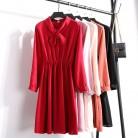 1046.63 руб. |2018 женское корейское Модное шифоновое платье Весна Осень Высокая талия с бантом галстук с длинным рукавом ТРАПЕЦИЕВИДНОЕ сплошное платье-in Платья from Женская одежда on Aliexpress.com | Alibaba Group