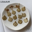 Louleur 925 Sterling Silver Twelve Constellation Necklace Round Pendant Gold Emboss Necklace for Women 925 Constellation Jewelry