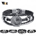 US $1.95 61% OFF|Vnox Lucky Vintage Men's Leather Bracelet Playing Cards Raja Vegas Charm Multilayer Braided Women Pulseira Masculina 7.87