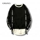 1406.73 руб. 40% СКИДКА|GMANCL письма печатаются пуловер с лентой для мужчин s кофты новый уличная хип хоп поддельные два женщин красный/черный 5XL купить на AliExpress