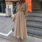 Mozuleva V-neck Single-breasted Female Long Dress 2020 Spring Elegant Long Sleeve Belted Women Dress Straight Loose Vestidos