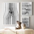 Сексуальная женщина абстрактная линия боди-арт поцелуй настенная живопись на холсте скандинавские плакаты и принты настенные картины для ...