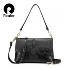 US $28.75 62% OFF|REALER genuine leather women shoulder bag female crossbody bags ladies messenger bag flap with alligator print for women fashion-in Shoulder Bags from Luggage & Bags on Aliexpress.com | Alibaba Group