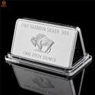 Изысканные немецкие серебряные. 999 мятный 1 тройская унция буйвола Европейский с серебряным покрытием металлический слиток бар копия колле...