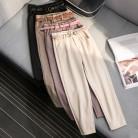 1381.15 руб. 20% СКИДКА|В Корейском стиле; Зимняя шерстяная одежда брюки Для женщин Новинка Высокие облегающие Шипованные талии поясом шаровары элегантные брюки женские осенние теплые Для женщин длинные штаны F201 купить на AliExpress