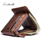 US $17.37 50% OFF|CONTACT'S Genuine Crazy Horse Leather Men Wallets Vintage Trifold Wallet Zip Coin Pocket Purse Cowhide Leather Wallet For Mens-in Wallets from Luggage & Bags on Aliexpress.com | Alibaba Group
