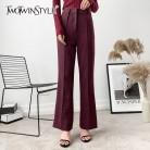 2514.51 руб. 38% СКИДКА|TWOTWINSTYLE Повседневные Брюки Для Женщин, однотонные, с высокой талией, большие размеры, длинные штаны, женские, 2019, весенняя, винтажная, модная одежда-in Штаны и капри from Женская одежда on Aliexpress.com | Alibaba Group
