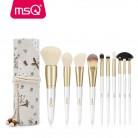 MSQ Pro 10 шт. набор кистей для макияжа Пудра Тени для век и бровей кисть для губ инструмент с льна случай или тонкая камедь цилиндр купить на AliExpress
