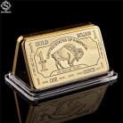 Gold Plated Bullion Beauty Bar United States Of America 1 Troy Ounce Replica Gold Clad Buffalo Bar