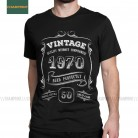 Gold Vintage 1970 Aged Perfectly T Shirts Men Cotton T-Shirts Round Collar 50th Birthday Gift 50 Years Old Tees Short Sleeve