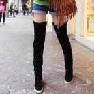 1135.5 руб. |NAUSK/горячая распродажа, осенне зимние сапоги из искусственной замши, ботфорты на плоской подошве, облегающие хлопковые сапоги, Размеры 35 40 купить на AliExpress