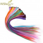 57.25 руб. 15% СКИДКА|AISI BEAUTY СИНТЕТИЧЕСКОЕ Наращивание волос с зажимами 50 см розовый Радужный цвет термостойкие прямые заколки для волос для женщин купить на AliExpress