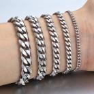 97.47 руб. 40% СКИДКА|3 11 мм Мужские браслеты серебряный браслет из нержавеющей стали кубинские звенья цепи браслеты для мужчин и женщин оптом ювелирные изделия подарок 7 10