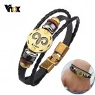 US $2.45 67% OFF|Vnox 12 Horoscope Leather Bracelet Men Jewelry Vintage Retro Charm Bracelet Male Jewelry 8.2
