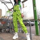 1360.2 руб. 45% СКИДКА|HEYounGIRL Harajuku корейские женские комбинезоны брюки неоновые зеленые хлопковые брюки капри брюки с высокой талией с карманом на цепочке уличная одежда-in Штаны и капри from Женская одежда on Aliexpress.com | Alibaba Group