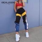 € 9.45 47% de DESCUENTO|Realpopu Patchwork pantalones de harén largos pantalones de chándal de mujer de cintura alta lado rayado negro pantalones tejidos cintura elástica entrenamiento-in Pantalones y pantalones pirata from Ropa de mujer on Aliexpress.com | Alibaba Group