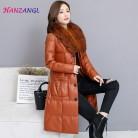 4970.8 руб. 43% СКИДКА|HANZANGL высокого качества зимние женские кожаные пуховая куртка съемный меховой воротник лиса тонкий большие размеры кожа пуховик пальто-in Кожа и замша from Женская одежда on Aliexpress.com | Alibaba Group