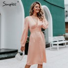 Simplee Sexy deep v neck satin women midi dress Vintage long sleeve buttons high waist ladies party dress Elegant silk vestido-in Dresses from Women's Clothing on AliExpress