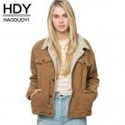 € 20.95 49% de DESCUENTO|HDY Haoduoyi invierno Casual de pana marrón de manga larga de cuello vuelto chaqueta simple Breasted básico mujeres abrigo caliente-in chaquetas básicas from Ropa de mujer on Aliexpress.com | Alibaba Group