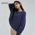 US $19.94 58% OFF|Wixra Knitted Chunky Oversized Sweater Women Loose Solid Thick O Neck Pullover Jumpers Stylish Tops for Female Autumn Winter-in Pullovers from Women's Clothing on Aliexpress.com | Alibaba Group