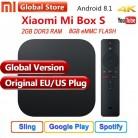 Оригинальный Глобальный Xiaomi Mi ТВ коробка S 3 К 4 к HDR Android 8,1 Ultra HD 2 г 8 г Wi Fi Google Cast Netflix IP Декодер каналов кабельного телевидения 4 Media Player купить на AliExpress