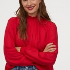 Blouse with a stand-up collar - Red - Ladies | H&M GB