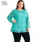 961.83 руб. 39% СКИДКА|Yitonglian Женская Осенняя кружевная рубашка цветочный вязаный крючком винтажный вышитый элегантный топ в стиле