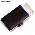 NEW Crazy Horse Leather Wallet Men Aluminum Wallet Pocket Card holder RFID Blocking Mini Automatic pop up Credit Card Purse gift-in Card & ID Holders from Luggage & Bags on AliExpress