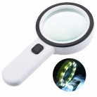 1pcs 30x 12 Lights High Magnification Glass Double Glazing Lens Upgraded Reading Band Lamp Switch Magnifying Glass